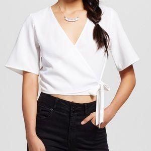 Xhilaration Short Sleeve V-neck Wrap Front Top